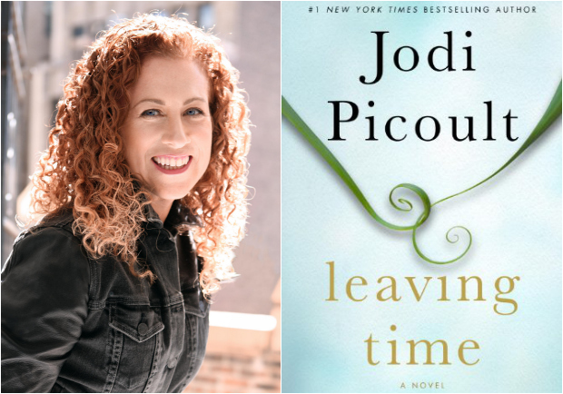 author-jodi-picoult-and-the-cover-of-her-newest-book-leaving-time-a-novel